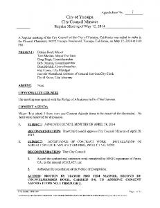 City of Yucaipa City Council Minutes Regular Meeting of May 12, 2014