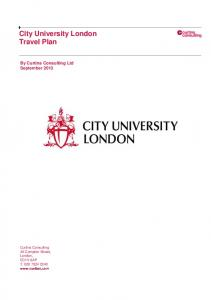 City University London Travel Plan By Curtins Consulting Ltd September 2013