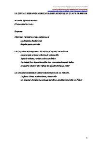 CIUDAD HISPANOAMERICANA: REFLEXIONES EN CLAVE DE PODER