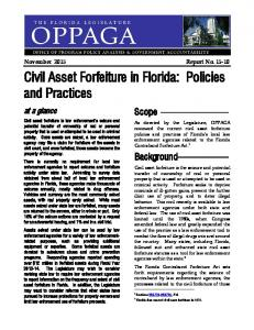 Civil Asset Forfeiture in Florida: Policies and Practices