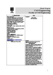 Civil Engineering Faculty of Civil Engineering