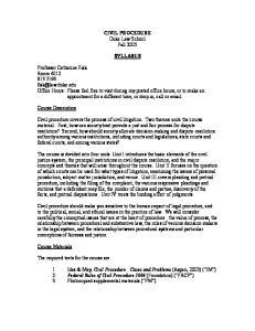 CIVIL PROCEDURE Duke Law School Fall 2005 SYLLABUS