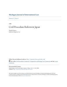 Civil Procedure Reform in Japan