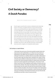 Civil Society or Democracy? A Dutch Paradox