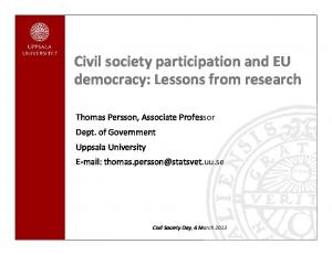 Civil society participation and EU democracy: Lessons from research
