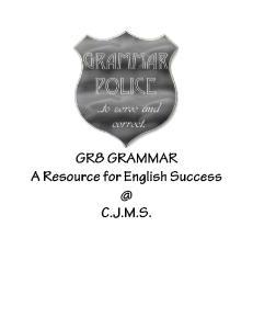 CJMS English 8 Grammar Overview