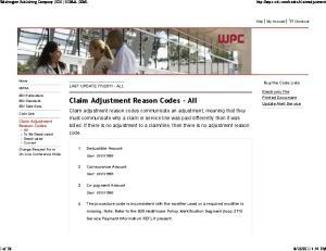 Claim Adjustment Reason Codes - All