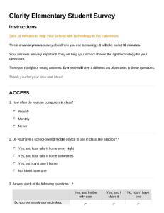 Clarity Elementary Student Survey