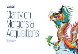 Clarity on Mergers & Acquisitions. Medienkonferenz 17. Januar 2017