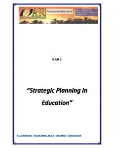 CLASE 2: Strategic Planning in Education
