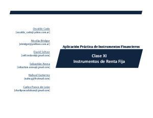 Clase XI Instrumentos de Renta Fija