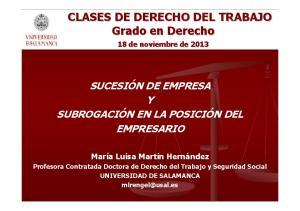CLASES DE DERECHO DEL TRABAJO Grado en Derecho