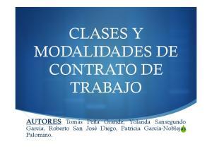 CLASES Y MODALIDADES DE CONTRATO DE TRABAJO