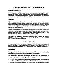 CLASIFICACION DE LOS NUMEROS
