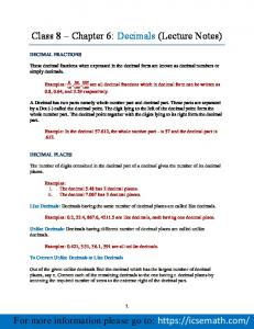 Class 8 Chapter 6: Decimals (Lecture Notes)