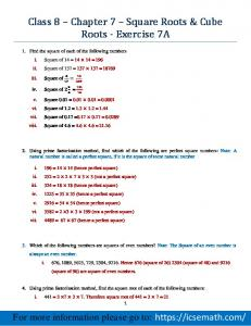 Class 8 Chapter 7 Square Roots & Cube Roots - Exercise 7A