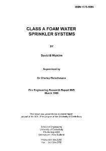 CLASS A FOAM WATER SPRINKLER SYSTEMS