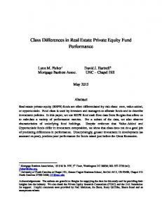 Class Differences in Real Estate Private Equity Fund Performance