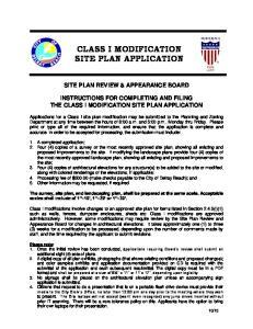 CLASS I MODIFICATION SITE PLAN APPLICATION