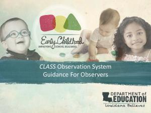 CLASS Observation System Guidance For Observers