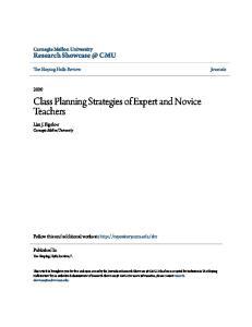 Class Planning Strategies of Expert and Novice Teachers