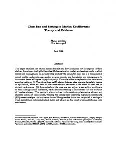 Class Size and Sorting in Market Equilibrium: Theory and Evidence