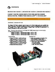 CLASS-T DIGITAL AUDIO AMPLIFIER EVALUATION BOARD USING DIGITAL POWER PROCESSING (DPP TM ) TECHNOLOGY