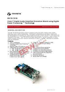 Class-T Digital Audio Amplifier Evaluation Board using Digital Power Processing TM Technology