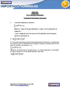 Class XII Chemistry Ch 5: Surface Chemistry. Important formulae & Concepts