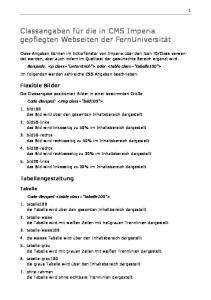 Classangaben für die in CMS Imperia gepflegten Webseiten der FernUniversität