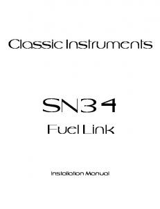 Classic Instruments SN34. Fuel Link. Installation Manual