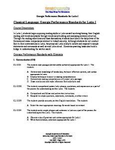 Classical Language: Georgia Performance Standards for Latin I