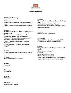 Classical Repertoire. Wedding Pre-Ceremony