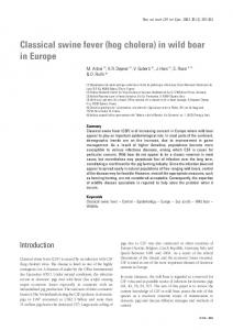 Classical swine fever (hog cholera) in wild boar in Europe
