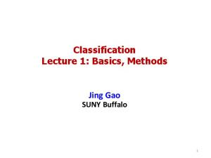 Classification Lecture 1: Basics, Methods