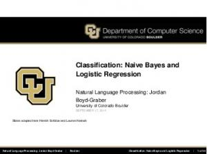 Classification: Naive Bayes and Logistic Regression