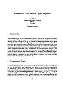 Classification: Naive Bayes vs Logistic Regression