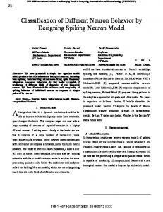 Classification of Different Neuron Behavior by Designing Spiking Neuron Model