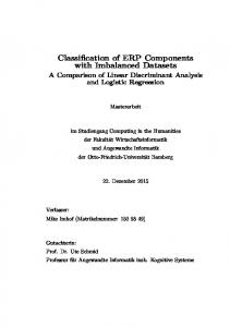 Classification of ERP Components with Imbalanced Datasets