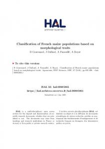 Classification of French maize populations based on morphological traits
