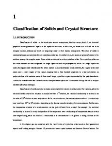 Classification of Solids and Crystal Structure