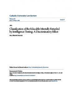 Classification of the Educable Mentally Retarded by Intelligence Testing: A Discriminatory Effect