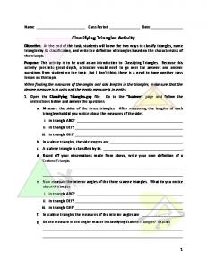 Classifying Triangles Activity