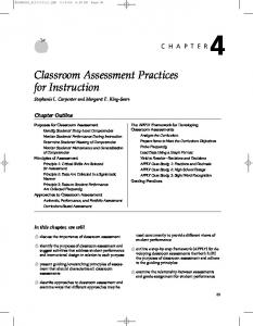 Classroom Assessment Practices for Instruction