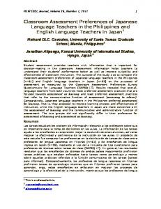 Classroom Assessment Preferences of Japanese Language Teachers in the Philippines and English Language Teachers in Japan 1