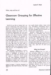 Classroom Grouping for Effective Learning
