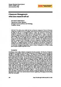 Classroom Management: what does research tell us?