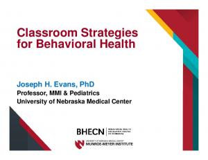Classroom Strategies for Behavioral Health