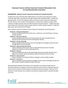 Classroom Teacher and Non- Classroom Personnel Observation Form for Sexuality Education Instruction