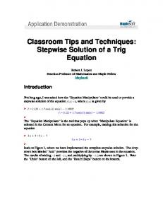Classroom Tips and Techniques: Stepwise Solution of a Trig Equation